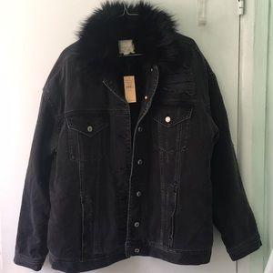 NWT AE American Eagle black denim faux fur jacket